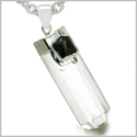 "Brazilian Double Lucky Amulet Crystal Point Rock Quartz Black Onyx Healing Gemstones Pendant on 22"" Steel Necklace"