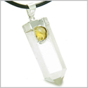 "Double Lucky Individual Amulet Crystal Point Rock Quartz and Citrine Gemstones Pendant on 18"" Leather Necklace"