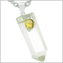"Brazilian Double Lucky Amulet Crystal Point Rock Quartz Citrine Healing Gemstones Pendant on 18"" Steel Necklace"