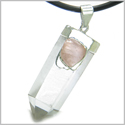 "Astrological Taurus Amulet Double Crystal Point Rose Quartz and Rock Quartz Gems Zodiac Pendant on 18"" Leather Necklace"