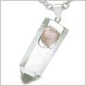 "Astrological Taurus Amulet Double Crystal Point Rose Quartz and Rock Quartz Gems Zodiac Pendant on 22"" Steel Necklace"