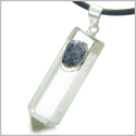 "Brazilian Double Lucky Amulet Crystal Point Rock Quartz Sodalite Healing Gemstones Pendant on 18"" Leather Necklace"