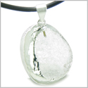Brazilian Amulet Unique Half Rough and Polished Crystal Quartz Magic Shaped Gemstone Protection Powers Pendant Leather Necklace
