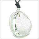 Brazilian Amulet Unique Half Rough Polished Crystal Quartz Magic Shaped Gemstone Protection Powers Pendant Adjustable Necklace