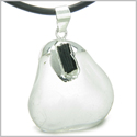 "Brazilian Amulet Rock Quartz Tumbled Crystal with Rough Black Tourmaline Gemstone Dipped in Silver Pendant 18"" Leather Necklace"
