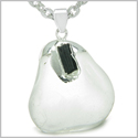 "Brazilian Amulet Rock Quartz Tumbled Crystal with Rough Black Tourmaline Gemstone Dipped in Silver Pendant 18"" Necklace"