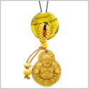 Magic Happy Buddha Car Charm or Home Decor Tiger Eye Lucky Coin Donut Protection Powers Amulet
