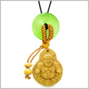 Magic Happy Buddha Car Charm or Home Decor Green Simulated Cats Eye Lucky Coin Donut Protection Amulet