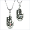 All Seeing and Feeling Buddha Eye Hand Love Couples Best Friends Amulets Pink Sky Blue Pendant Necklaces