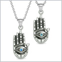 All Seeing and Feeling Buddha Eye Hand Love Couples Best Friends Amulets Royal Sky Blue Pendant Necklaces