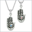All Seeing and Feeling Buddha Eye Hand Love Couples or Best Friends Amulets Blue Pink Pendant Necklaces