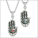 All Seeing and Feeling Buddha Eye Hand Love Couples Best Friends Amulets Sky Blue Red Pendant Necklaces