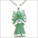 Brazilian Crystal Praying Angel Charm Green Aventurine Good Luck Powers Amulet Silver Electroplated Pendant 18� Steel Necklace