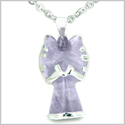 "Brazilian Crystal Praying Angel Charm Amethyst Safe Protection Powers Amulet Silver Electroplated Pendant 18"" Steel Necklace"
