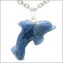 "Brazilian Crystal Lucky Dolphin Sodalite Good Luck Powers Amulet Silver Electroplated Charm Pendant on 18"" Steel Necklace"