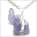 "Brazilian Crystal Lucky Elephant Amethyst Safe Protection Powers Amulet Silver Electroplated Charm Pendant on 18"" Steel Necklace"