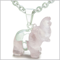 Brazilian Crystal Lucky Elephant Rose Quartz Love Powers Amulet Silver Electroplated Charm Pendant on 22� Steel Necklace