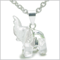 "Brazilian Crystal Lucky Elephant Rock Quartz Protection Powers Amulet Silver Electroplated Charm Pendant on 18"" Steel Necklace"