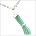 "Brazilian Crystal Figa Green Aventurine Money Powers Amulet Silver Electroplated Italian Lucky Charm Pendant 18"" Necklace"
