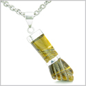 "Brazilian Crystal Figa Tiger Eye Evil Eye Protection Amulet Silver Electroplated Italian Lucky Charm Pendant 18"" Necklace"