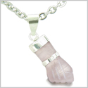 "Brazilian Crystal Figa Rose Quartz Love Powers Amulet Silver Electroplated Italian Lucky Charm Pendant 18"" Necklace"