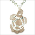 Brazilian Crystal Lucky Turtle Rose Quartz Love Powers Amulet Silver Electroplated Charm Pendant on 22� Steel Necklace