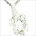 Brazilian Crystal Lucky Turtle Rock Quartz Protection Powers Amulet Silver Electroplated Charm Pendant on 22� Steel Necklace