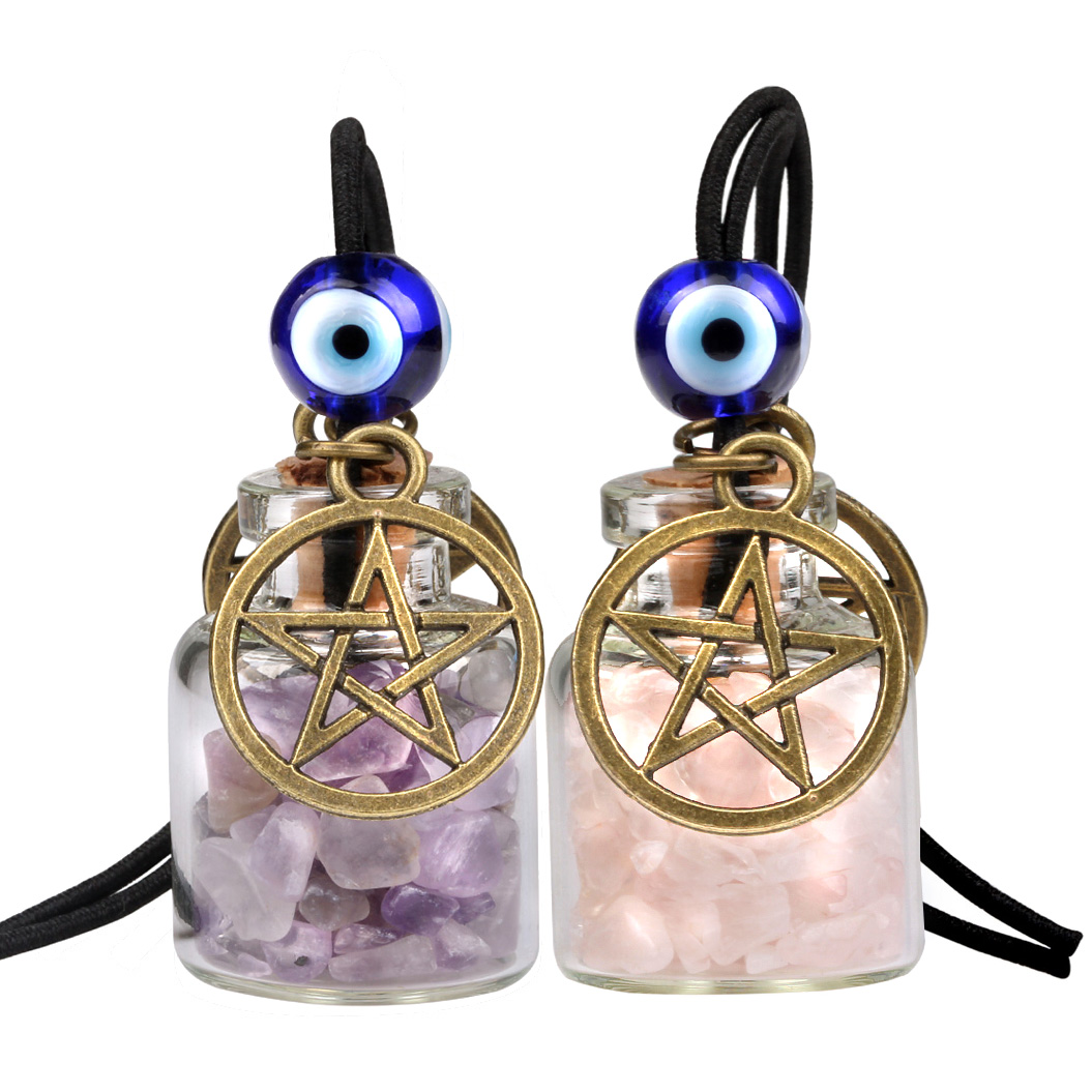 star magic pentacle small car charms or home decor gem bottles