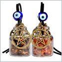 Star Magic Pentacle Small Car Charms or Home Decor Gem Bottles Carnelian and Tiger Eye Protection Amulets