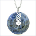 Celtic Shield Knot Protection Magic Powers Amulet Sodalite Lucky Donut Pendant 18 Inch Necklace