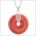 Celtic Shield Knot Protection Magic Powers Amulet Cherry Red Quartz Lucky Donut Pendant 18 Inch Necklace