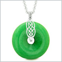 Celtic Shield Knot Protection Magic Powers Amulet Hot Green Quartz Lucky Donut Pendant 18 Inch Necklace