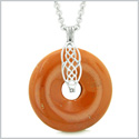 Celtic Shield Knot Protection Magic Powers Amulet Red Jasper Lucky Donut Pendant 22 Inch Necklace
