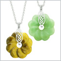 Yin Yang Celtic Shield Knot Flower Amulets Love Couples or Best Friends Tiger Eye Green Quartz Necklaces