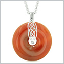 Celtic Shield Knot Protection Magic Powers Amulet Carnelian Lucky Donut Pendant 18 Inch Necklace