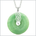 Celtic Shield Knot Protection Magic Powers Amulet Green Quartz Lucky Donut Pendant 18 Inch Necklace