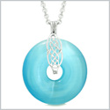 Celtic Shield Knot Protection Magic Powers Amulet Blue Simulated Cats Eye Donut Pendant 18 Inch Necklace