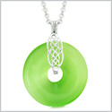 Celtic Shield Knot Protection Magic Powers Amulet Green Simulated Cats Eye Donut Pendant 18 Inch Necklace