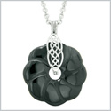 Celtic Shield Knot Protection Magic Powers Amulet Black Agate Lucky Flower Donut Pendant 18 Inch Necklace