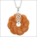 Celtic Shield Knot Protection Magic Powers Amulet Red Jasper Lucky Flower Donut Pendant 18 Inch Necklace