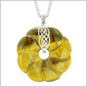 Large Celtic Shield Knot Protection Powers Amulet Tiger Eye Lucky Flower Donut Pendant 18 Inch Necklace