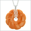 Large Celtic Shield Knot Protection Powers Amulet Red Jasper Lucky Flower Donut Pendant 18 Inch Necklace