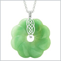 Large Celtic Shield Knot Protection Power Amulet Green Quartz Lucky Flower Donut Pendant 18 Inch Necklace