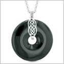 Large Celtic Shield Knot Protection Magic Powers Amulet Black Agate Lucky Donut Pendant 18 Inch Necklace
