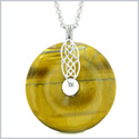 Large Celtic Shield Knot Protection Magic Powers Amulet Tiger Eye Lucky Donut Pendant 18 Inch Necklace