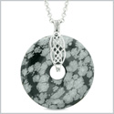 Large Celtic Shield Knot Protection Powers Amulet Snowflake Obsidian Lucky Donut Pendant 18 Inch Necklace