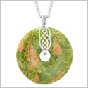 Large Celtic Shield Knot Protection Magic Powers Amulet Unakite Lucky Donut Pendant 22 Inch Necklace