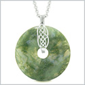 Large Celtic Shield Knot Protection Powers Amulet Green Moss Agate Lucky Donut Pendant 18 Inch Necklace