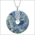 Large Celtic Shield Knot Protection Magic Powers Amulet Sodalite Lucky Donut Pendant 18 Inch Necklace