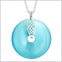 Large Celtic Shield Knot Protection Powers Amulet Blue Simulated Cats Eye Donut Pendant 18 Inch Necklace